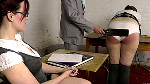 Zoe watches Alex get the wooden paddle over her panties