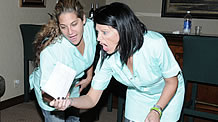 HOUSEKEEPERS NOSE AROUND AT SPANKING IMPLEMENTS