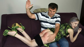 OTK spanking for daughter Violet