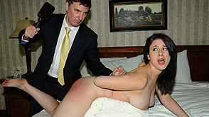 Sarah Gregory is given the leather strap on her bare bottom