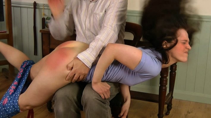 Kami is given a hard no nonsnse spanking